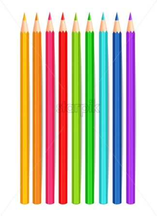 Colorful crayons Vector realistic isolated on white background. 3d detailed illustration - starpik