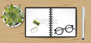 Copybook Vector realistic. White notesbook and green cactus illustration - starpik