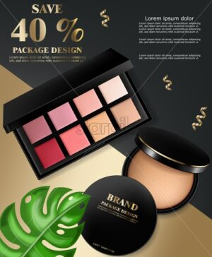 Cosmetics set Vector realistic. Eye shadow and powder blush collection. Product placement. 3d illustration - starpik