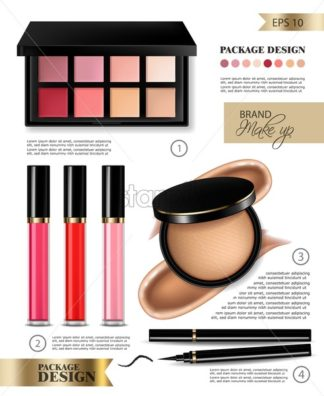 Cosmetics set Vector realistic. Eye shadow, lip gloss and powder blush collection with detailed text. Product placement mock up. 3d illustration - starpik