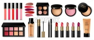 Cosmetics set Vector realistic. Eye shadow, lip gloss and powder blush collection. Product placement. 3d illustration - starpik