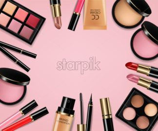 Cosmetics set Vector realistic. Eye shadow, lip gloss and powder blush collection. Product placement. 3d illustration. Top view - starpik