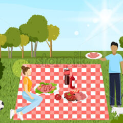 Couple at picnic Vector. Family playing, enjoying BBQ and leisure time. Flat style - starpik