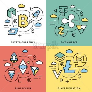 Crypto currency thin line color background icons isolated vector illustration - starpik