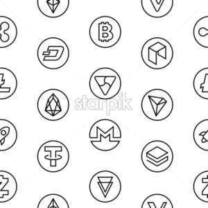 Crypto currency thin line color background icons isolated vector illustration, seamless pattern - starpik