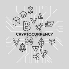 Crypto currency thin line silver background icons isolated vector illustration - starpik