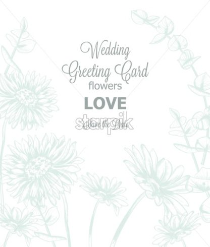 Daisy flowers line art card Vector. Hand drawn summer floral background - starpik