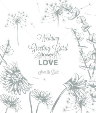 Daisy flowers line art wedding card Vector. Hand drawn summer floral background - starpik