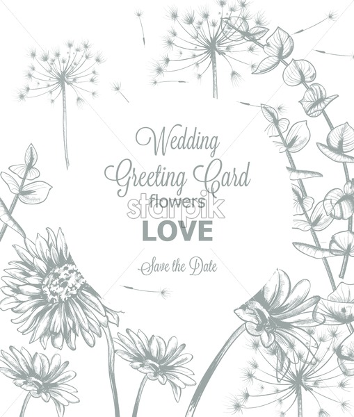 Daisy Flowers Line Art Wedding Card Vector Hand Drawn Summer