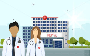 Doctors at the hospital Vector flat style. Medical center concept. Practitioner young doctors man and woman, hospital building. Medical staff - starpik