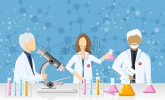 Doctors in a laboratory Vector. Scientists in lab concept. Medical clinique research, testing, studies in chemistry, physics, biology - starpik