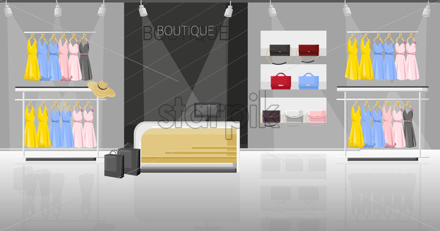 Dress and shoe store boutique vector flat style. Promotion sale shoe racks illustration - starpik