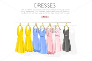 Dress collection vector flat style. colorful classic women dresses on shelves illustration - starpik