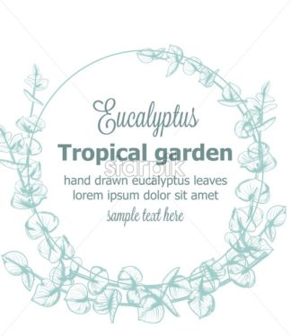Eucalyptus wreath Vector vintage line art. Provence floral decor hand drawn. Summer wedding ceremony delicate poster - starpik
