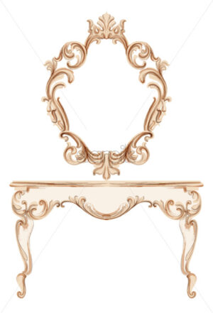 Exquisite Baroque dressing table engraved. Vector French Luxury rich intricate ornamented structure. Victorian Royal Style decor - starpik