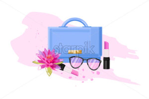 Eyeglasses, bag and lipstick vector flat style. Women essential cosmetic brochure poster icon template - starpik