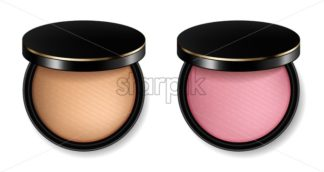 Face powder and blush cosmetics Vector realistic. Product placement mock up. 3d illustration - starpik