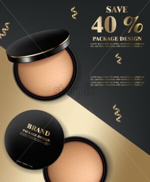 Face powder cosmetics Vector realistic. Product placement mock up. 3d illustration - starpik
