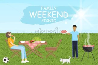 Family weekend picnic bbq Vector. Man and woman eating outdoors green grass sunshine background - starpik