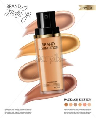 Foundation cream Vector realistic cosmetics. Product placement. Pouring liquid 3d detailed illustration - starpik