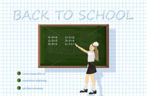 Girl at the chalk board Vector. Green board with mathematics formulas. Back to school concept - starpik