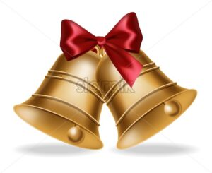 Golden bell Vector realistic isolated on white. Red silk bow illustration 3d - starpik
