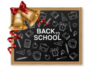 Golden bell and chalk board Vector realistic. Back to school concept. Autumn sale fall banner poster - starpik