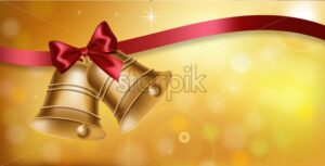Golden bell and red bow Vector realistic. Back to school. Fall autumn courses beginning concept - starpik
