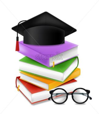 Graduation cap and books stack vector realistic illustration. Back to school study concept - starpik