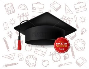 Graduation cap vector realistic. Back to school sale poster background banner template - starpik