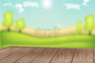 Green field background layout vector realistic. Wooden table on green view for product placement mock up - starpik