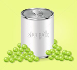 Green peas can Vector realistic. Product placement. Aluminium can 3d illustration - starpik