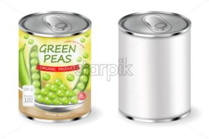 Green peas can Vector realistic. Product placement. Label design package. 3d illustration - starpik