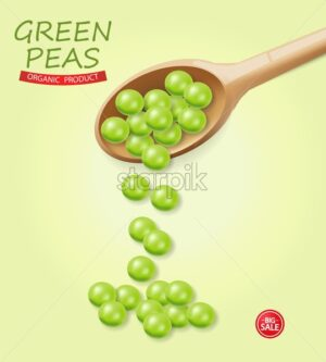 Green peas falling Vector realistic. Wooden soon. 3d illustration - starpik