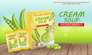 Green peas soup Vector realistic. Product placement mock up. Label design package. 3d illustration - starpik