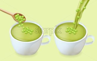 Green peas soup Vector realistic. White cup. Pourring green soup 3d illustration - starpik