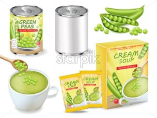 Green peas soup and can Vector realistic. Product placement. Label design package set collection - starpik