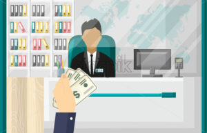 Hand holding cash money Vector. Office bank interior background. Investment or Bank account concept flat style - starpik