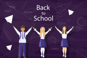 Happy kids back to school Vector. Pupils uniform dressed flat style - starpik