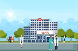 Hospital building and people Vector flat style. Panoramic background with hospital, doctors, nurses, patients waiting - starpik
