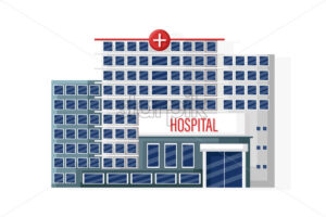 Hospital facade isolated Vector flat style. Medical center. Emergency entrance - starpik