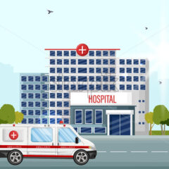 Hospital facade street view Vector flat style. Ambulance car at the entrance - starpik