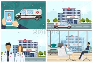 Hospital set Vector flat style. Medical center concept. Practitioner young doctors man and woman, ambulance call, hospital building. Medical staff illustration - starpik