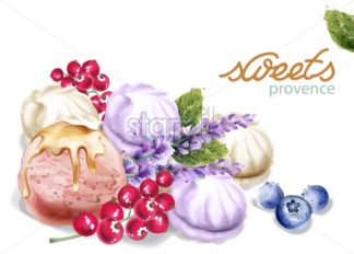 Ice cream and meringue Vector watercolor. Sweet delicious desserts illustration - starpik