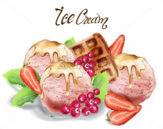 Ice cream scoops Vector watercolor. Delicious banner poster template - starpik