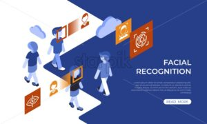 Isometric facial recognition technology and security icons, digital vector infographic illustration - starpik