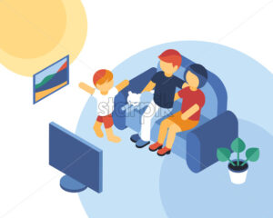 Isometric family time together watching tv icons, digital vector illustration - starpik