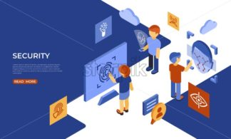 Isometric security technology and scanning icons, digital vector infographic illustration - starpik