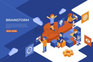 Isometric team work people business and brainstorm icons, digital vector infographic illustration - starpik