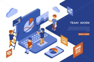 Isometric team work people business and security icons, digital vector infographic illustration - starpik